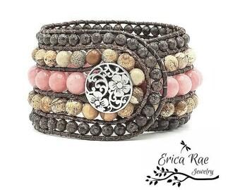Leather wrap bracelet, gemstone bracelet, boho leather wrap, Morganite gemstone, jasper gemstone, beaded leather wrap, boho leather cuff
