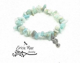 Gemstone stretch bracelet, stretchy bracelet, Amazonite gemstone bracelet, beach bracelet, sea horse bracelet, beach jewelry, charm bracelet