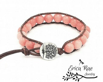 leather wrap bracelet, beaded wrap bracelet, leather bracelet, gemstone leather wrap bracelet, pink bracelet, tree of life, Morganite
