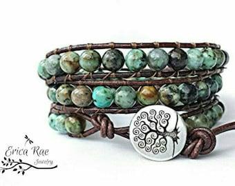 turquoise bracelet, turquoise jewelry, tree of life, boho jewelry, boho bracelet, hippie jewelry, hippie bracelet, african turquoise beaded