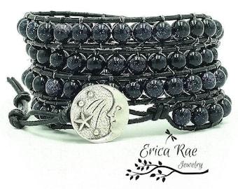 leather wrap bracelet, beaded wrap bracelet, leather bracelet, gemstone leather wrap bracelet, moon and stars, goldstone bracelet, boho wrap