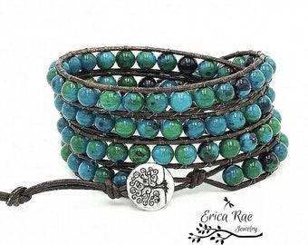 Chrysocolla Azurite leather wrap bracelet, beaded bracelet, leather bracelet, gemstone leather wrap bracelet, tree of life boho bracelet