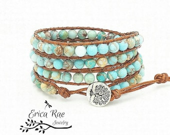 Turquoise leather wrap bracelet, beaded wrap bracelet, gemstone leather wrap bracelet, jasper bracelet, tree of life boho bracelet, beach