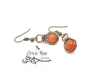 Orange agate earrings, antique earrings, gemstone earrings, orange earrings, wire wrap earrings, beaded earrings, copper earrings