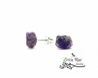 Rough amethyst stud earrings,  raw amethyst gemstone earrings,  hypoallergenic post earrings,   February birthstone earrings,  boho jewelry