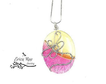 Agate gemstone heart pendant necklace, pink agate, yellow agate, wire wrapped pendant, Dragonfly necklace, gemstone jewelry, wire jewelry