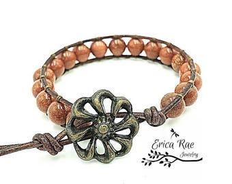 leather wrap bracelet, beaded wrap bracelet, wrap bracelet, leather wrap, leather bracelet, gemstone leather wrap bracelet, goldstone, boho
