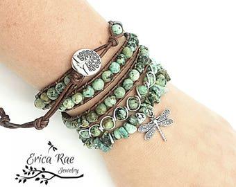 african turquoise leather wrap bracelet, gemstone wire wrap bangle bracelet, turquoise chip dragonfly stretch bracelet, layered boho jewelry