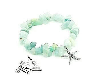 Beach bracelet, starfish charm bracelet, beaded stretch bracelet, stretchy bracelet, Amozonite chip gemstone bracelet, beach jewelry, boho
