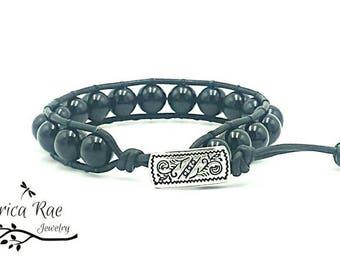leather wrap bracelet, beaded wrap bracelet, leather bracelet, black leather wrap bracelet, black czech beads, boho bracelet, unisex jewelry