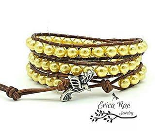 leather wrap bracelet, beaded wrap bracelet, wrap bracelet, leather wrap, leather bracelet, yellow pearl leather wrap bracelet