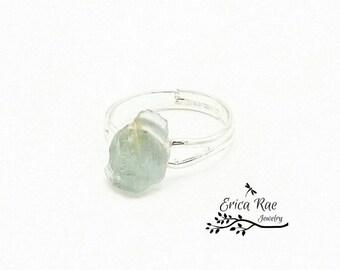 Raw Aquamarine gemstone adjustable ring, silver plated non tarnish ring, gemstone jewelry, boho jewelry, boho ring,  raw gemstone jewelry