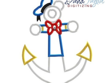 DCL Anchor Donald - 4x4, 5x7 and 6x10 in 7 formats - Applique - Instant Download - David Taylor Digitizing