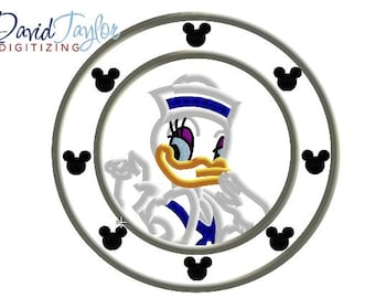 Porthole Daisy Duck - 4x4, 5x7 and 6x10 in 9 formats - Applique - Instant Download - David Taylor Digitizing