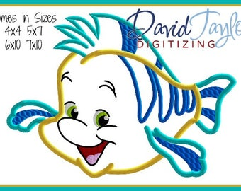 1 dollar on website Flounder Embroidery Design 4x4 5x7 6x10 7x10 in 9 formats-Applique Instant Download-DTDigitizing Ariel Little Mermaid