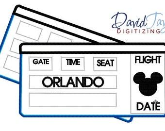 Airline Tickets - Orlando - Embroidery Machine Design - 4x4, 5x7 6x10 - Applique - Instant Download - David Taylor Digitizing