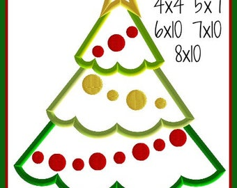FREE on Website Christmas Tree Embroidery Design 4x4 5x7 6x10 7x10 8x10 9 formats-Applique Instant Download-DTDigitizing Holiday Santa Light