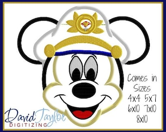 Sailor Mickey Face Disney Cruise Line  4x4, 5x7, 6x10, 8x8 in 9 formats - Applique - Instant Download - David Taylor Digitizing