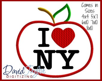 1 Dollar Desin on our Website--I Heart NYC Apple - 4x4 5x7 6x10 7x10 8 10 in 9 formats Applique Instant Download DTDigitizing--New York City