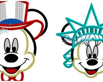 Uncle Sam Mickey/Minnie Liberty 2 designs - 4x4, 5x7, 6x10 in 9 formats - Applique - Instant Download - David Taylor Digitizing