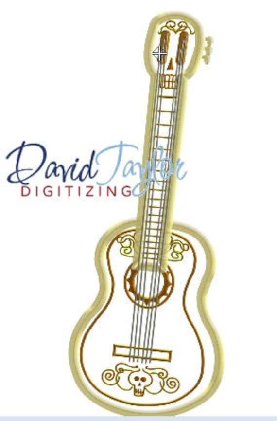 Coco guitarra bordado diseño 5 x 7 6 x 10 en 9 | Etsy