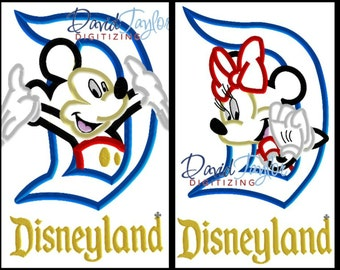 Disneyland Mickey and Minnie 2 Design Pack 4x4, 5x7, 6x10 in 9 formats - Applique - Instant Download - David Taylor Digitizing