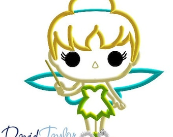 Pop Tinkerbell Embroidery Design 4x4, 5x7, 6x10, 7x10, 8x10 in 9 formats-Applique Instant Download-David Taylor Digitizing