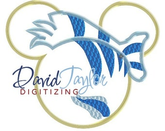 Mickey Head - The Little Mermaid - Flounder - Embroidery Machine Design - Applique - Instant Download - David Taylor Digitizing