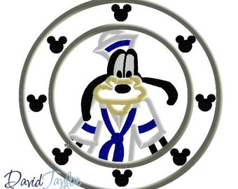 Porthole Goofy - 4x4, 5x7 and 6x10 in 7 formats - Applique - Instant Download - David Taylor Digitizing
