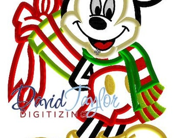 Mickey Mouse with Christmas Gift - Embroidery Machine Design - Applique - Instant Download - David Taylor Digitizing