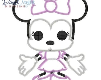 Pop Minnie - 4x4, 5x7 and 6x10 in 9 formats - Applique - Instant Download - David Taylor Digitizing