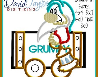 Mine Train Dwarf Grumpy Embroidery Design 4x4 5x7 6x10 7x10 8x10 9 format-Applique Instant Download-DTDigitizing Snow White and the 7 seven