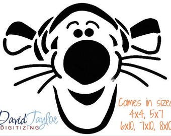 Tigger Face Embroidery Design 4x4, 5x7, 6x10, 7x10, 8x10 in 9 formats-Instant Download-David Taylor Digitizing