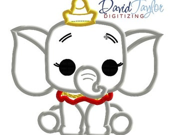 Pop Dumbo - 4x4, 5x7 and 6x10 in 9 formats - Applique - Instant Download - David Taylor Digitizing