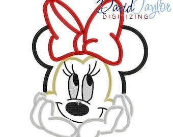 Minnie Bust Embroidery Design 4x4, 5x7, 6x10, 7x10, 8x10 in 9 formats-Applique Instant Download-David Taylor Digitizing