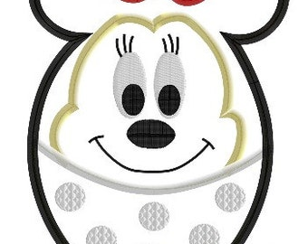 Easter Egg Minnie- 4x4, 5x7 and 6x10 in 7 formats - Applique - Instant Download - David Taylor Digitizing