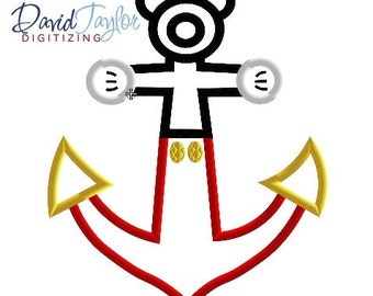 DCL Anchor Mickey - 4x4, 5x7 and 6x10 in 7 formats - Applique - Instant Download - David Taylor Digitizing
