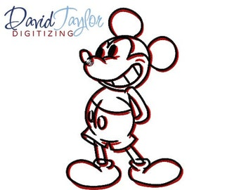 Mickey Grin Sketch Embroidery - 4x4, 5x7, 6x10 in 9 formats - Applique - Instant Download - David Taylor Digitizing