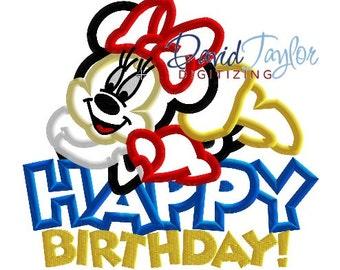 Happy Birthday Minnie Embroidery Design 4x4, 5x7, 6x10, 7x10, 8x10 in 9 formats-Applique Instant Download-David Taylor Digitizing