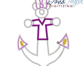 DCL Anchor Daisy - 4x4, 5x7 and 6x10 in 7 formats - Applique - Instant Download - David Taylor Digitizing