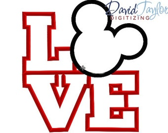 LOVE Mickey Embroidery Design - 4x4, 5x7, 6x10 and 8x8 in 9 formats - Applique - Instant Download - David Taylor Digitizing