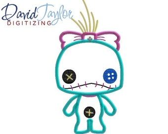 Pop Lilo Doll Scrump - 4x4, 5x7 and 6x10 in 9 formats - Applique - Instant Download - David Taylor Digitizing