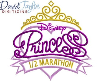 RunDisney Princess Logo in 3 Versions - 4x4, 5x7, 6x10, 7x10, 8x10 in 9 formats - Applique - Instant Download - David Taylor Digitizing