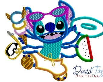Beach Stitch 4 arms AND 2 arms 2 Designs - 4x4, 5x7, 6x10 8x10 in 9 formats - Applique - Instant Download - David Taylor Digitizing