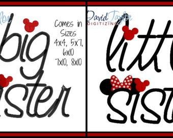 Big and Little Sister Embroidery Design 4x4 5x7 6x10 7x10 8x10 in 9 formats-Applique Instant Download-DTDigitizing