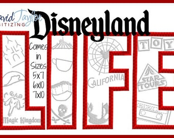 Disneyland LIFE Rides California Adventure Magic Kingdom Embroidery Design 4x4 5x7 6x10 in 9 formats-Applique Instant Download-DTDigitizing