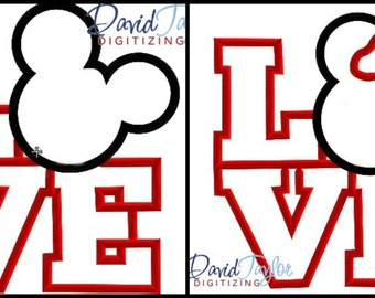 LOVE Mickey & Minnie 2 Pack Embroidery Design-4x4, 5x7, 6x10, 8x8 in 9 formats - Applique - Instant Download - David Taylor Digitizing