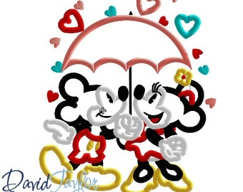 Valentine Mickey Minnie Umbrella 4x4, 5x7, 6x10, 7x10, 8x10 in 9 formats  Applique - Instant Download - David Taylor Digitizing