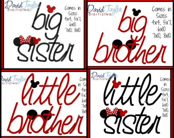 Big and Little Sister and Brother Embroidery Design 4x4 5x7 6x10 7x10 8x10 in 9 formats-Applique Instant Download-DTDigitizing