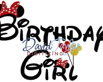 Birthday Girl - Embroidery Machine Design - 4x4, 5x7, 6x10  Applique - Instant Download - David Taylor Digitizing